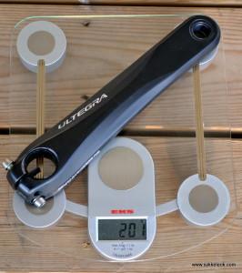 Ultegra 6700 venstre krankarm uten Stages veier 201 gram.
