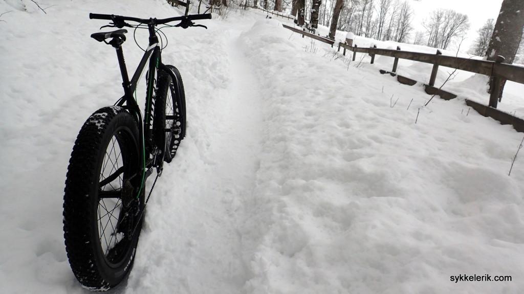 Vanlige veier er ikke fatbiken sterke side. Så fort man kommer seg ut i snøen, derimot...