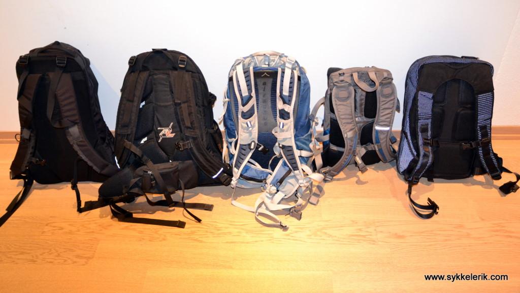 Sekker jeg har brukt til pendling, fra venstre: Arcteryx Arro 22, Nordheim Balder, Osprey Talon 22, Camelbak Mule og Rapha Backpack.