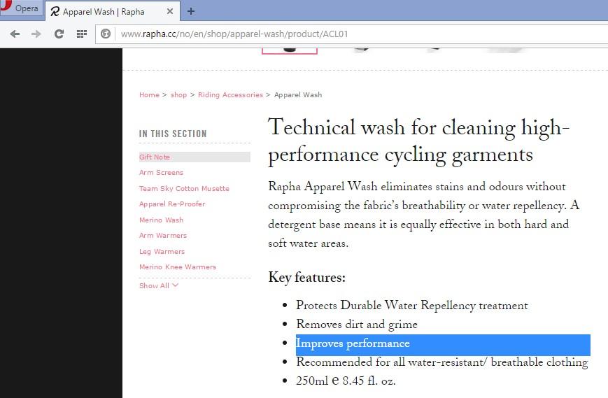 """Rapha påstår at deres vaskemiddel forbedrer """"performance"""". Hva det betyr vites i midlertid ikke..."""