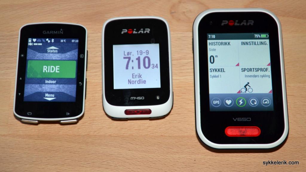Garmin Edge 520, Polar M450 og Polar V650 sett forfra.
