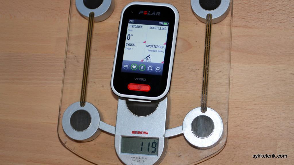 Polar V650 veier 119 gram.