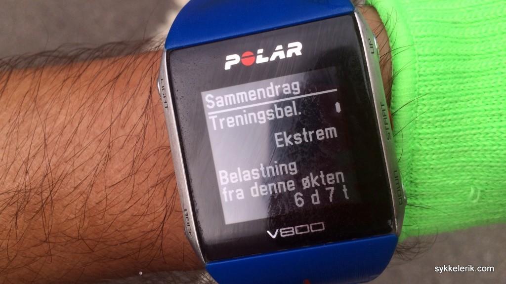 """Ifølge Polar V800'en min var treningsbelastningen """"ekstrem"""" ved målgang, og klokka anbefalte en restitusjon på 6 dager og 7 timer... Sannsynligvis riktig."""