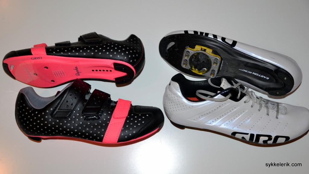 Rapha Climber's Shoes til venstre, Giro Empire SLX til høyre.