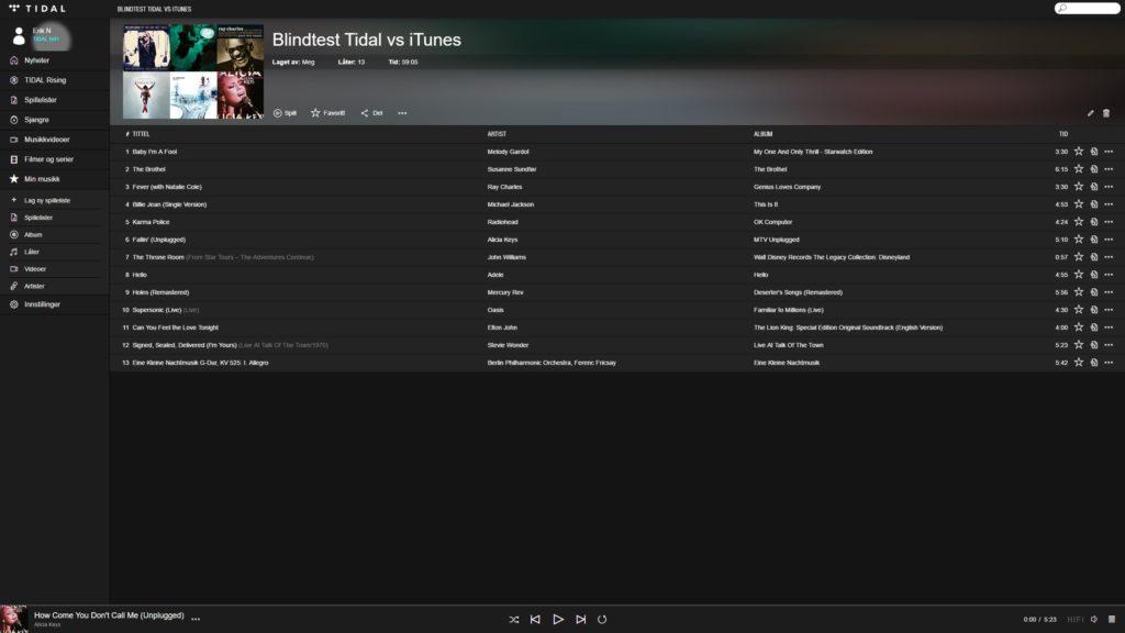 Spillelisten brukt til å teste om Tidal Hifi har bedre lydkvalitet enn iTunes.